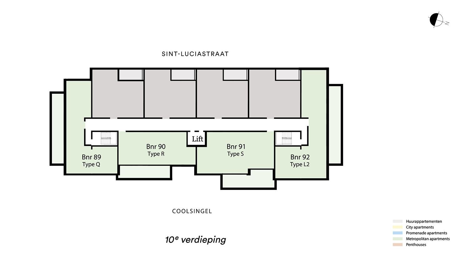 Floor plan verdieping 10 Type L2 - Metropolitan apartment N� 75 coolsingel