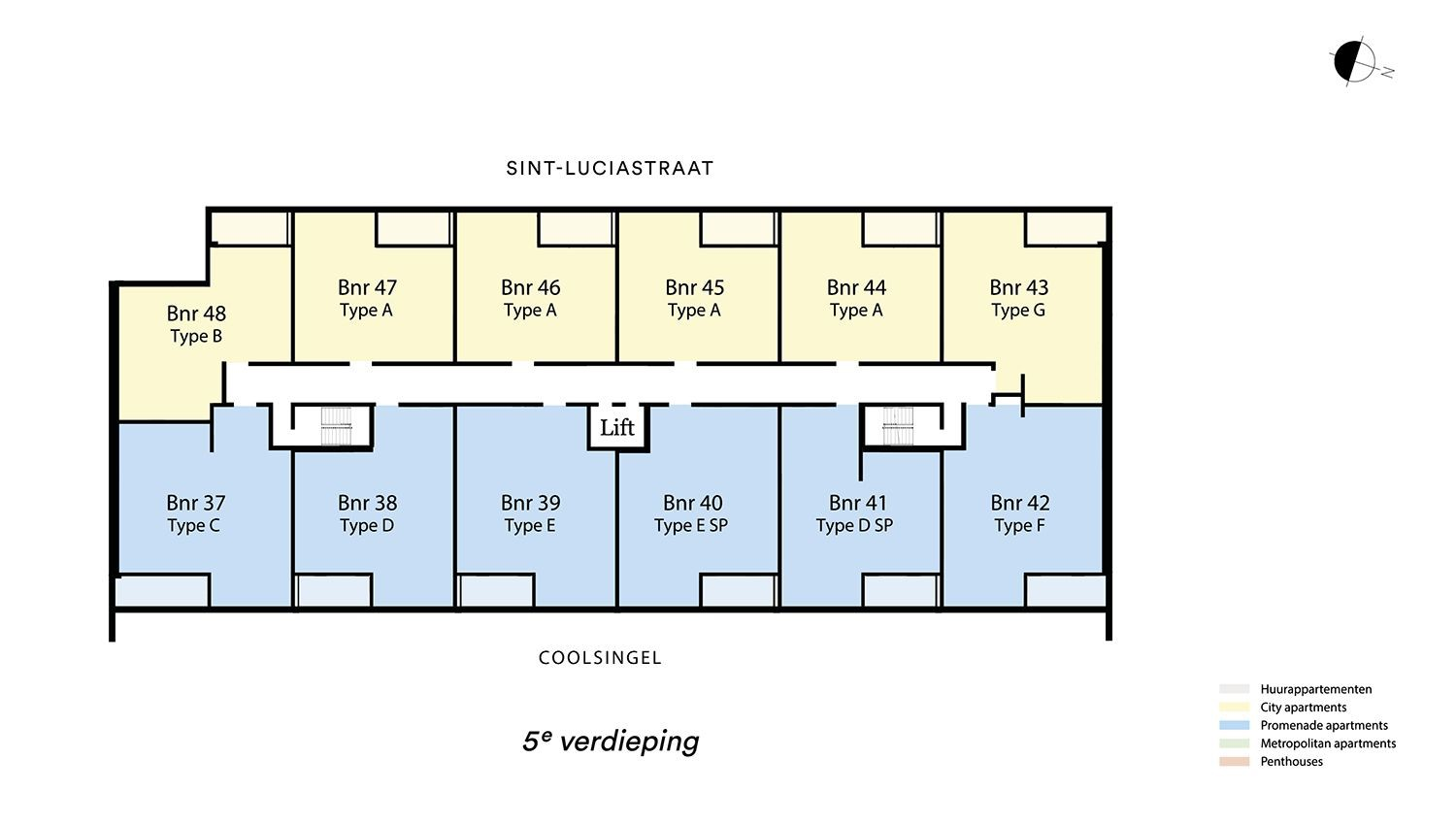 Floor plan verdieping 5 Type G - City apartment N� 75 coolsingel