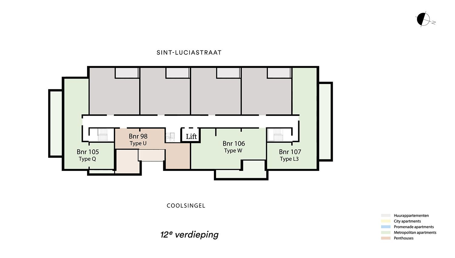 Floor plan verdieping 12 Type L3 - Metropolitan apartment N� 75 coolsingel