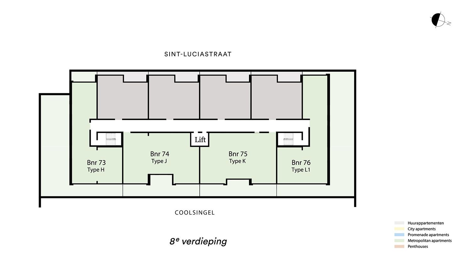 Floor plan verdieping 8 Type H - Metropolitan apartment N� 75 coolsingel