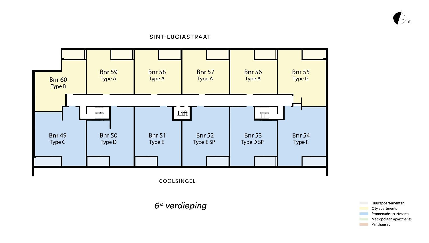 Floor plan verdieping 6 Type G - City apartment N� 75 coolsingel