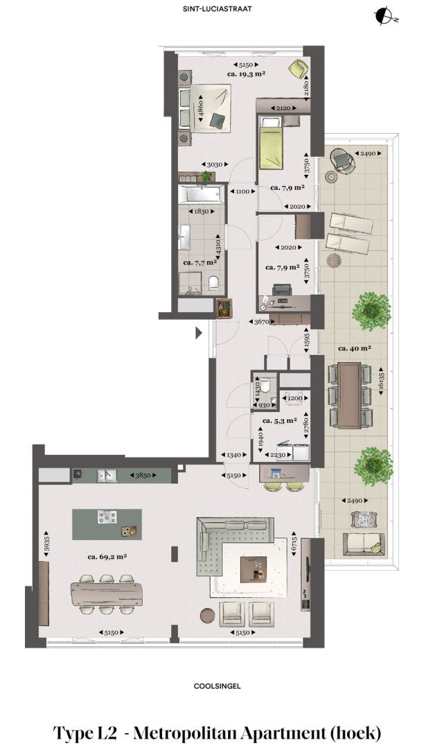 Floor plan type l2 Type L2 - Metropolitan apartment N� 75 coolsingel