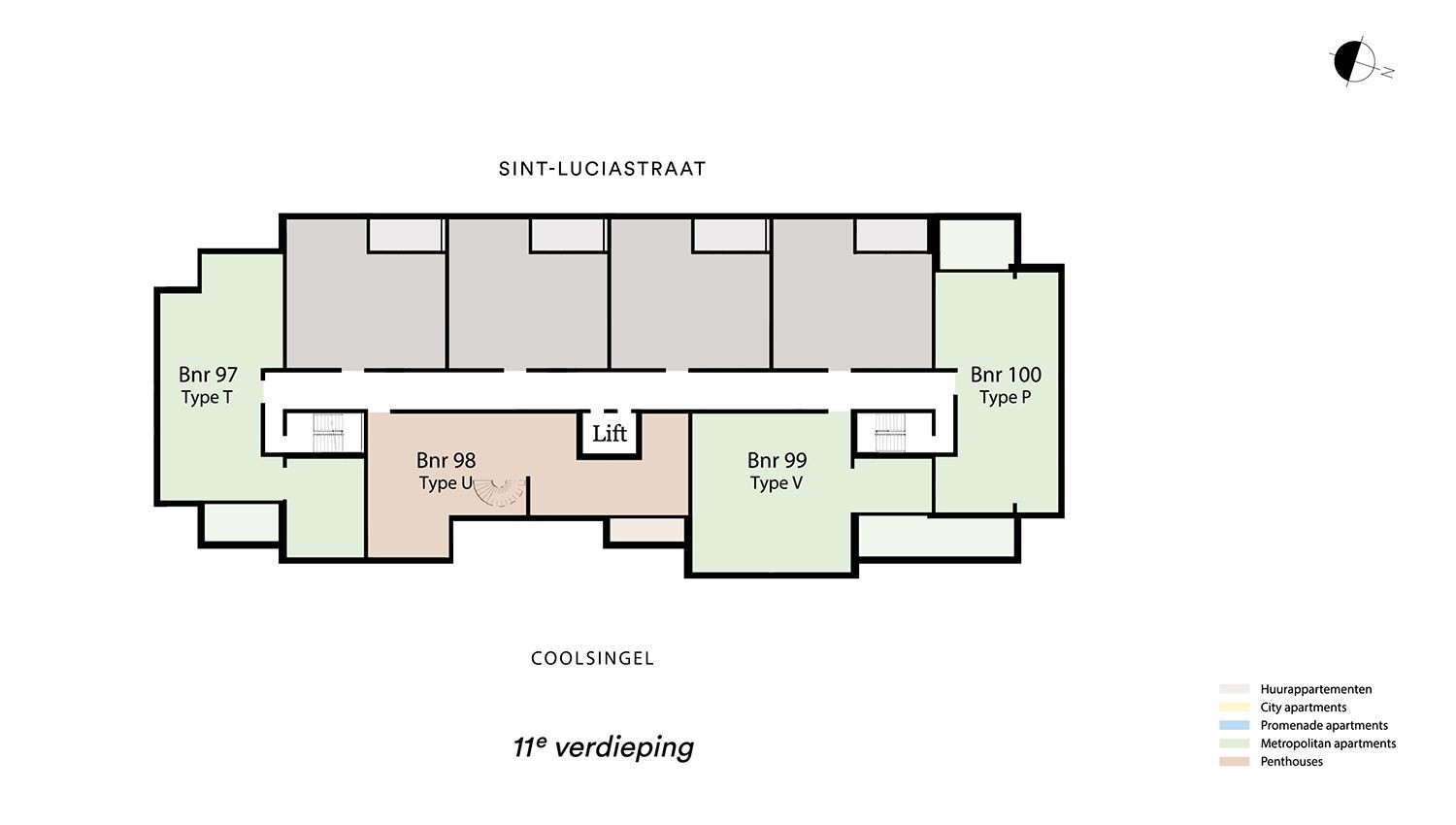 Floor plan verdieping 11 Type T - Metropolitan apartment N� 75 coolsingel