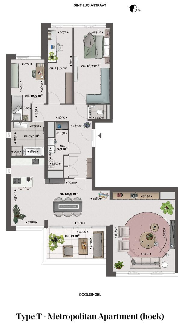 Floor plan type t Type T - Metropolitan apartment N� 75 coolsingel
