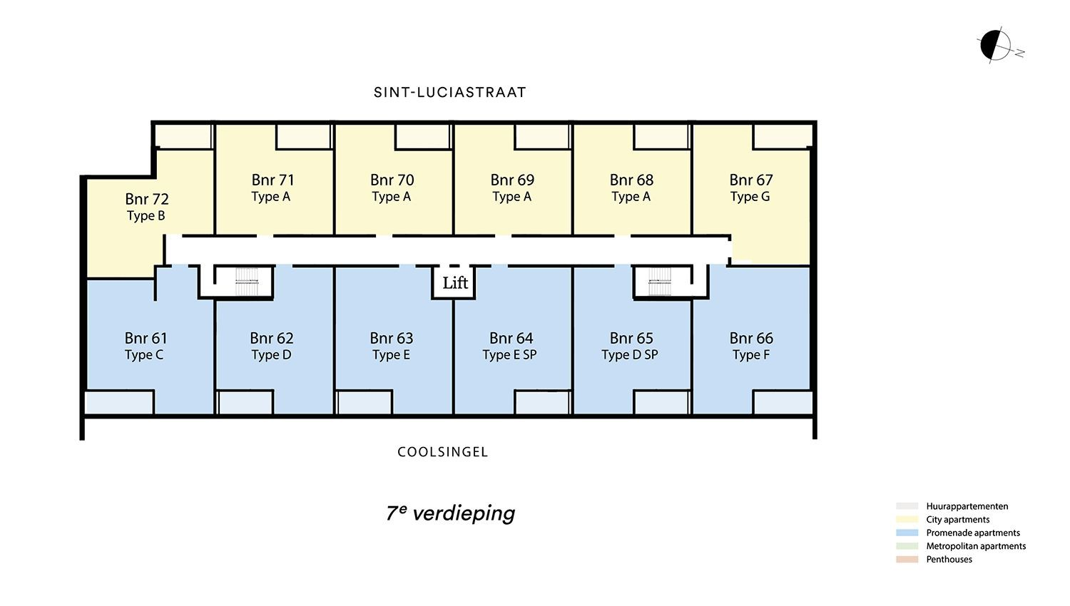 Floor plan verdieping 7 Type G - City apartment N� 75 coolsingel